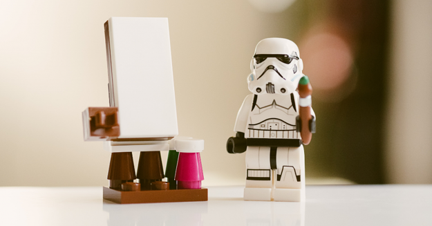 mini figure and whiteboard