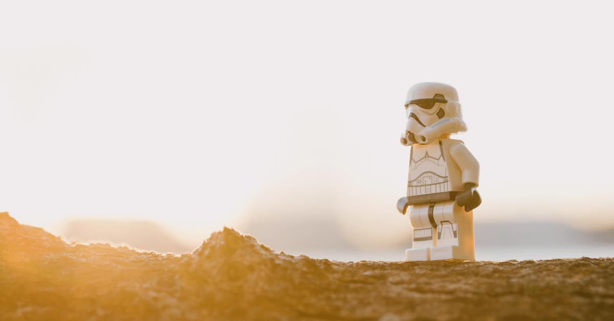 lego mini figure on a desert
